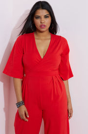 Red Pleated Pant Jumpsuit plus sizes