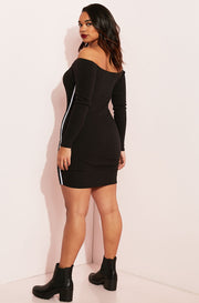 Black Over The Shoulder Bodycon Mini Dress plus sizes