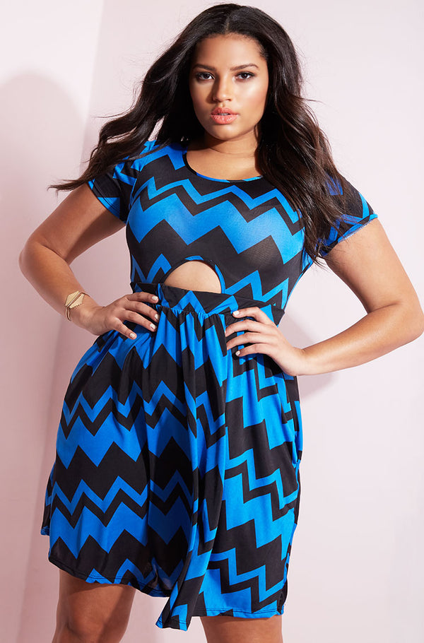 Blue Cut-Out Skater Mini Dress plus sizes