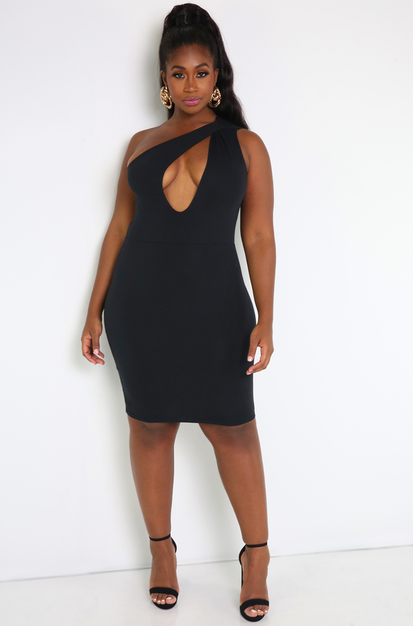 Black Keyhole One Shoulder Mini Dress Plus Sizes
