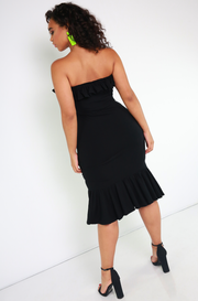 Black Ruffled Bodycon Midi Dress Plus Sizes