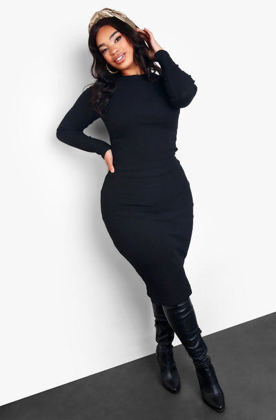 "Rebdolls ""Good Company"" Ribbed Sweater Midi Skirt - Black"