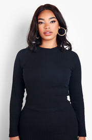 Black Ribbed Sweater Top Plus Sizes