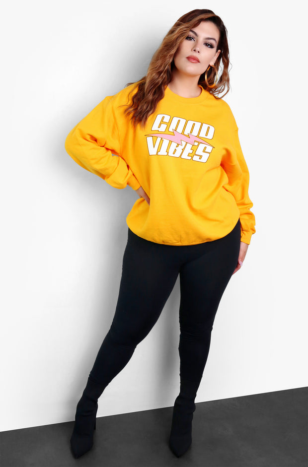Mustard Long Sleeve Graphic Sweatshirt Plus Sizes