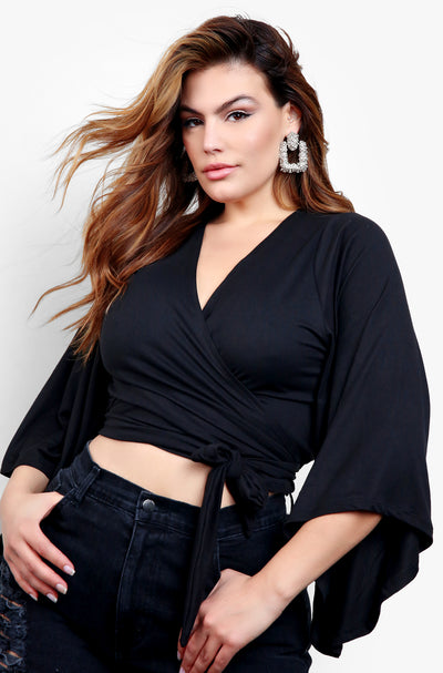 Black  Kimono Sleeve Wrap Around Tie Front Crop Top