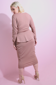 Mocha Crossover Peplum Bodycon Midi Dress plus sizes