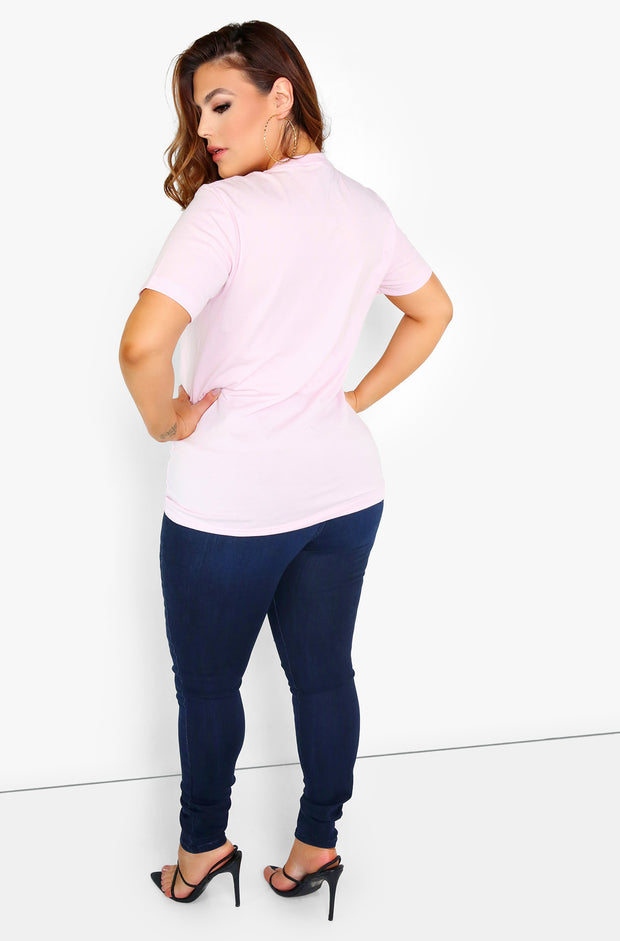Pink Graphic Crew Neck T-Shirt Plus Size