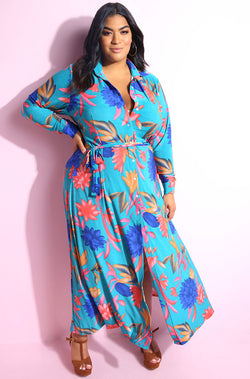Flower print  Button Down Relaxed Fit Maxi Dress with belt plus sizes