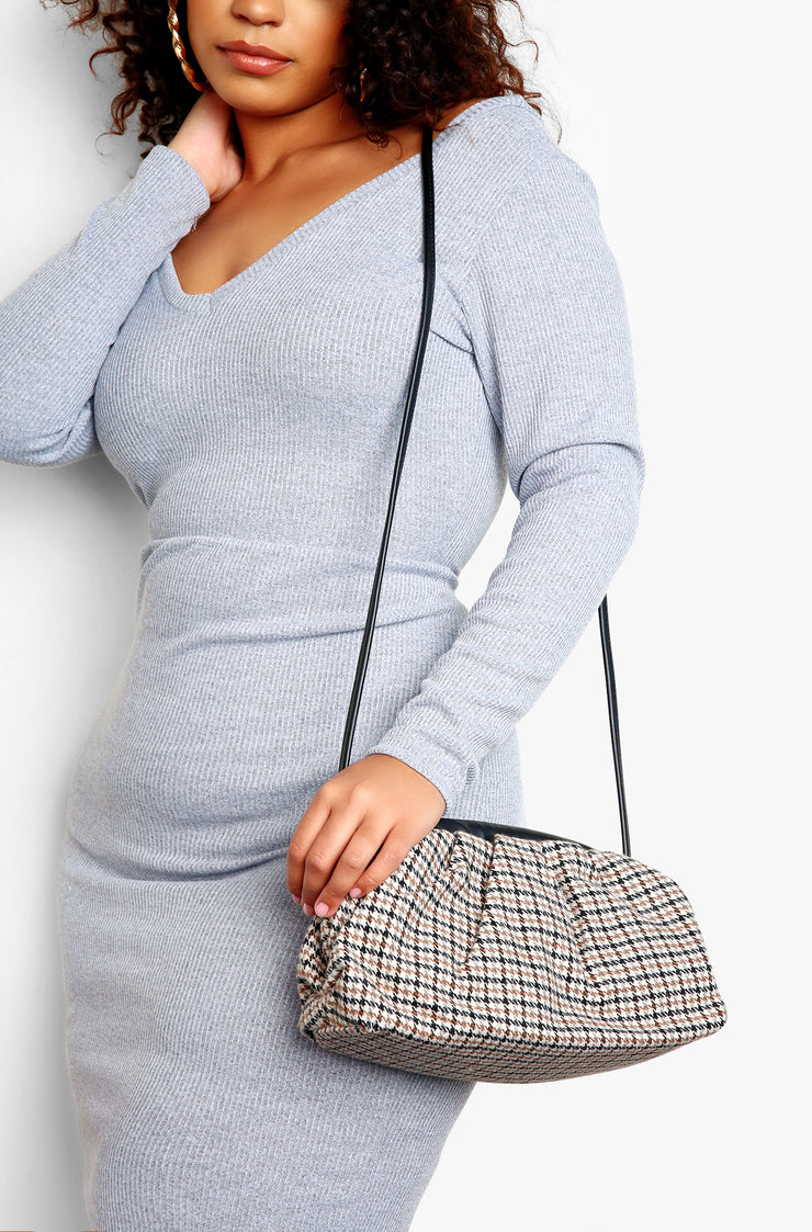 Brown Houndstooth Mini Clutch