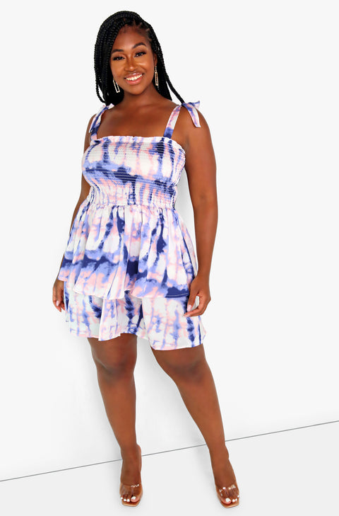 Navy Blue Tie Dye Layered Smocked Mini Dress Plus Size