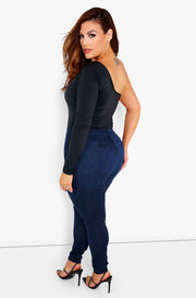 Black One Shoulder Bodysuit Plus Size