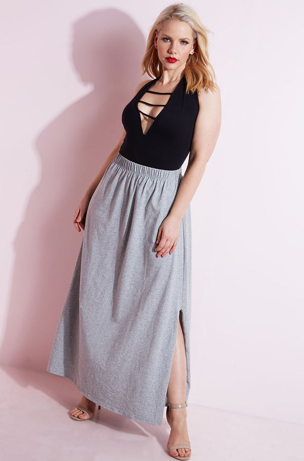 Gray Double Slit Skater Maxi Skirt Plus Sizes