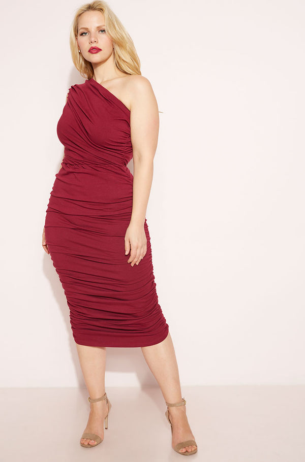 Burgundy Ruched One Shoulder Bodycon Midi Dress plus sizes