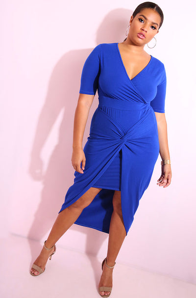 Royal Blue Knotted Train Dress plus sizes