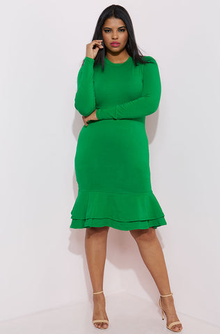 "Rebdolls ""All About Me"" Ribbed Turtleneck Midi Dress"