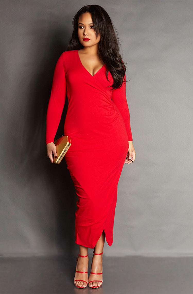Red Ruched Bodycon Long Sleeve Maxi Dress plus sizes
