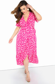 Pink Floral Wrap Maxi Dress Plus Size