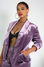 Purple Tuxedo Cut Velvet Blazer Plus Sizes
