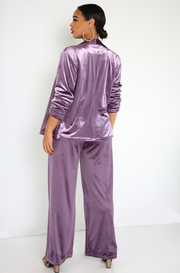 Purple Wide Leg Velvet Pants Plus Sizes