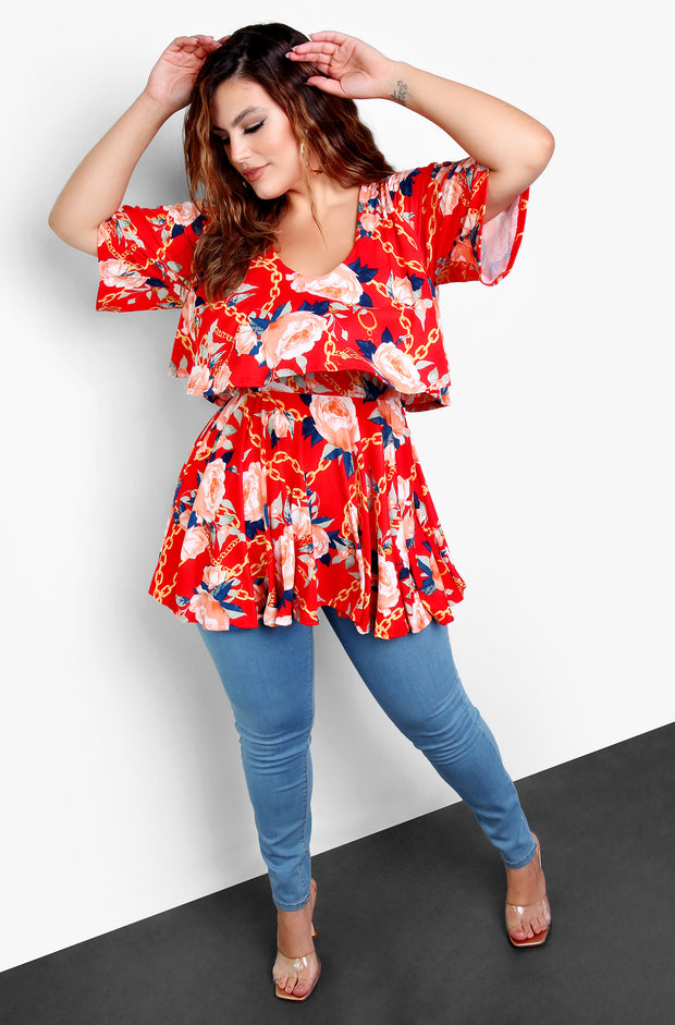 Red Ruffle Layered Floral Top Plus Size