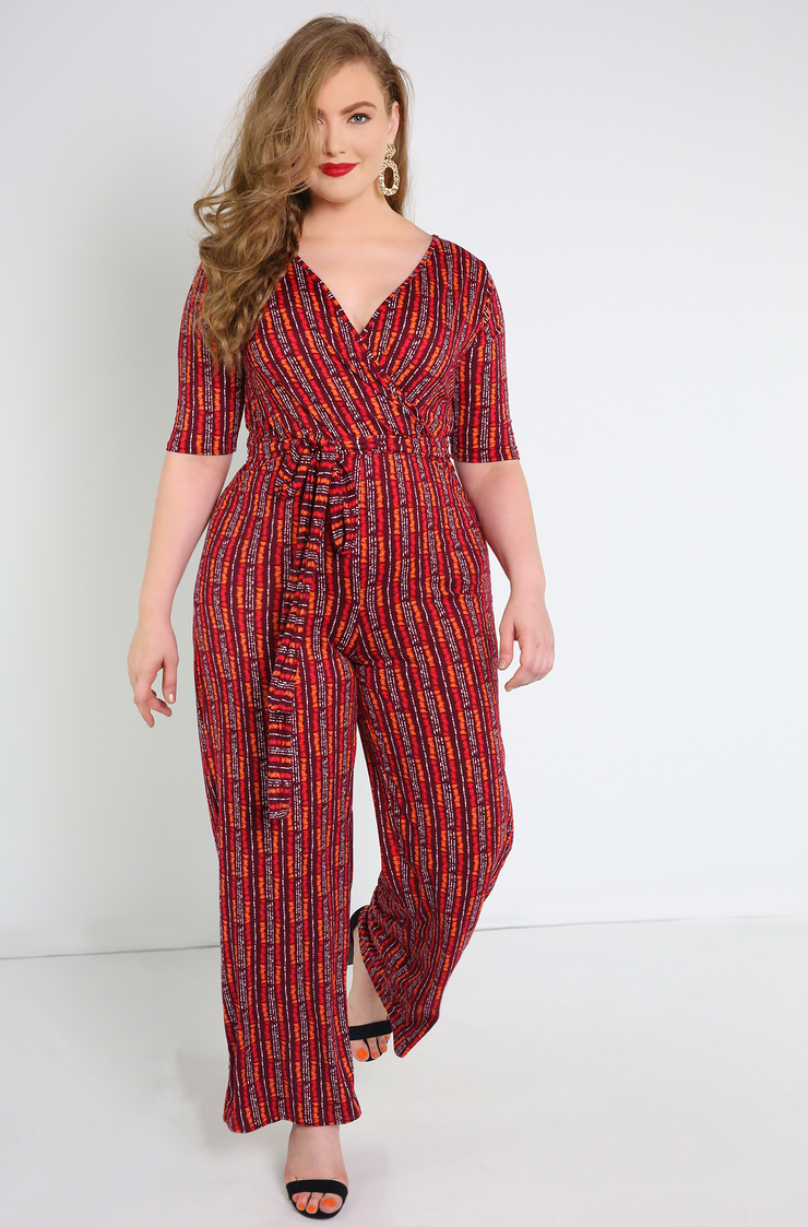 Work Wear Burgundy Wide Leg Jumpsuit