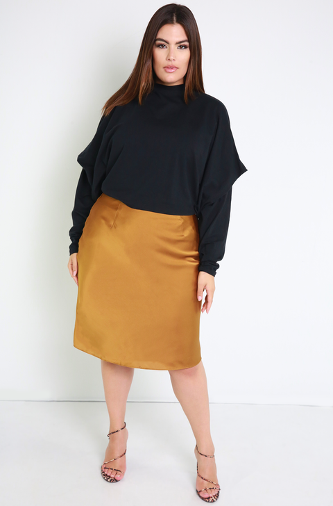 Gold Satin Slip A-Line Skirt Plus Sizes