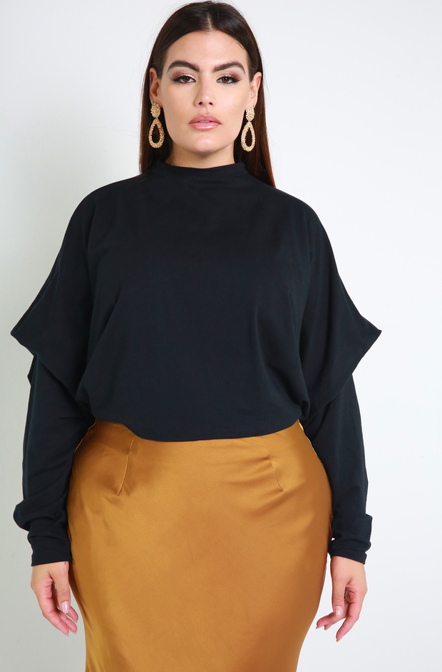 Black Oversized Crop Top Plus Sizes