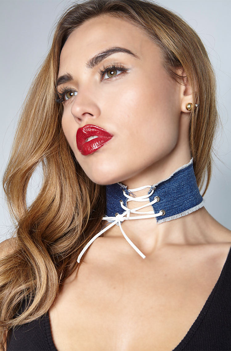 White Denim Choker