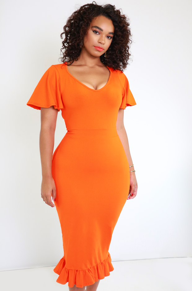 Orange Ruffled Hem Bodycon Midi Dress Plus Sizes