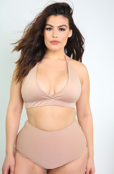 Nude High Waist Swimsuit Bottoms Plus Sizes