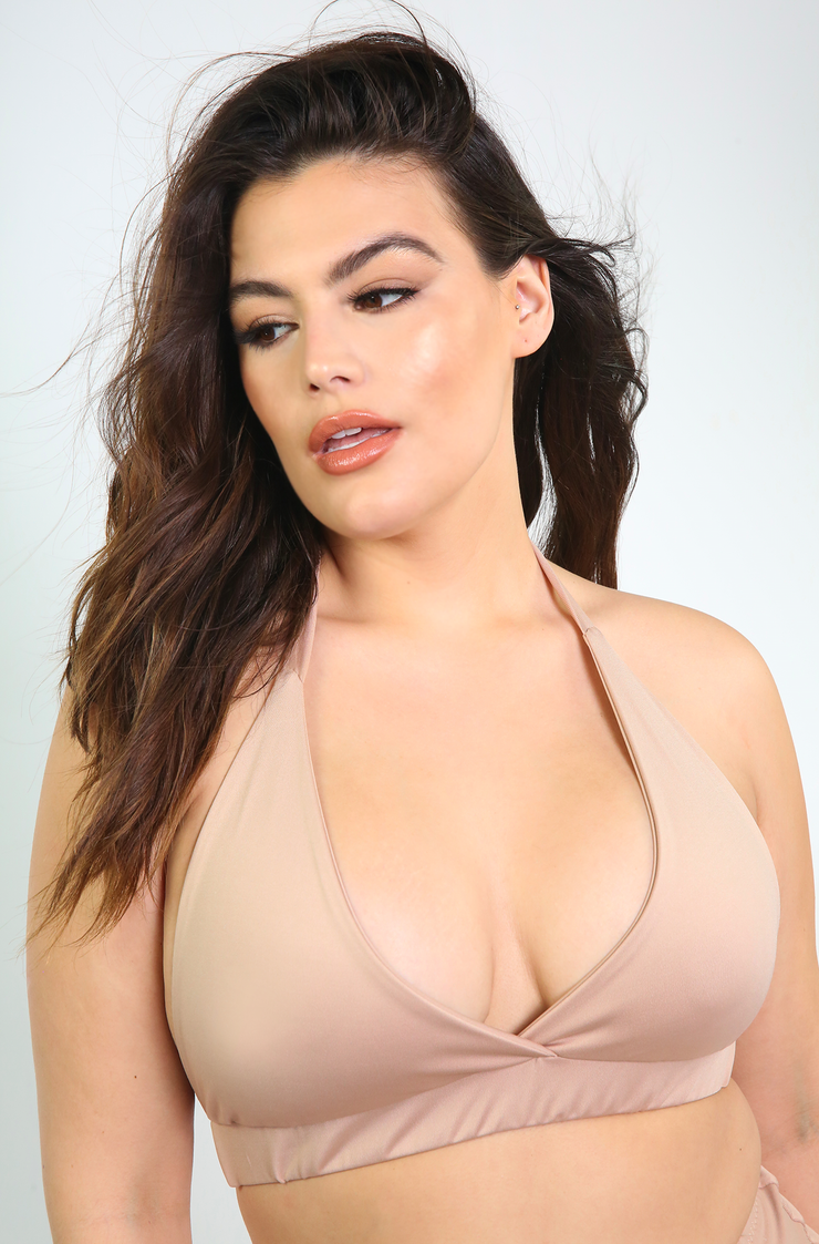 Nude Full Coverage Bikini Swimsuit Top Plus Sizes