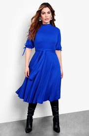 Royal Blue Tie Front Short Sleeve Midi Dress