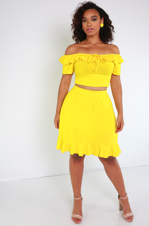 Yellow Ruffled Hem Mini Skirt Plus Sizes