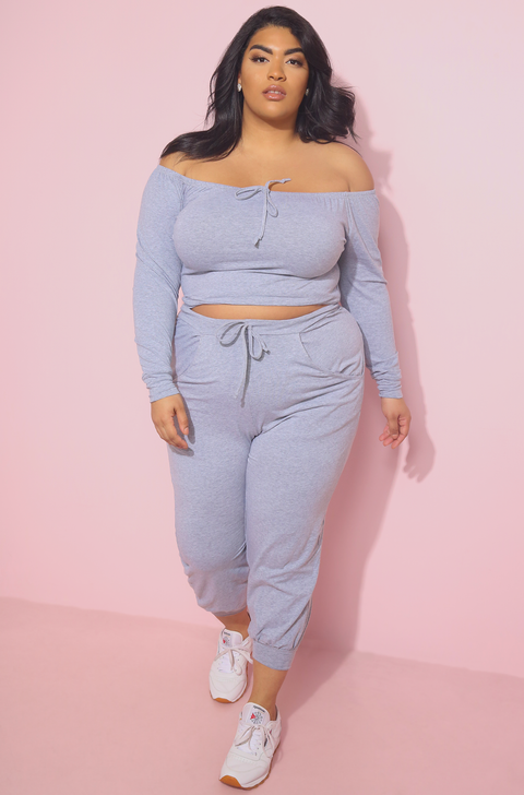 Gray Over The Shoulder Crop Top Plus Sizes