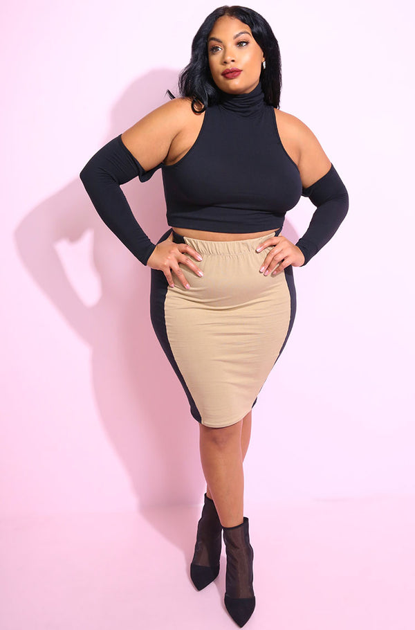 Black Turtleneck Crop Top with detached sleeves plus sizes