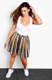 Mustard Multi-Colored Striped Short Pants Plus Size