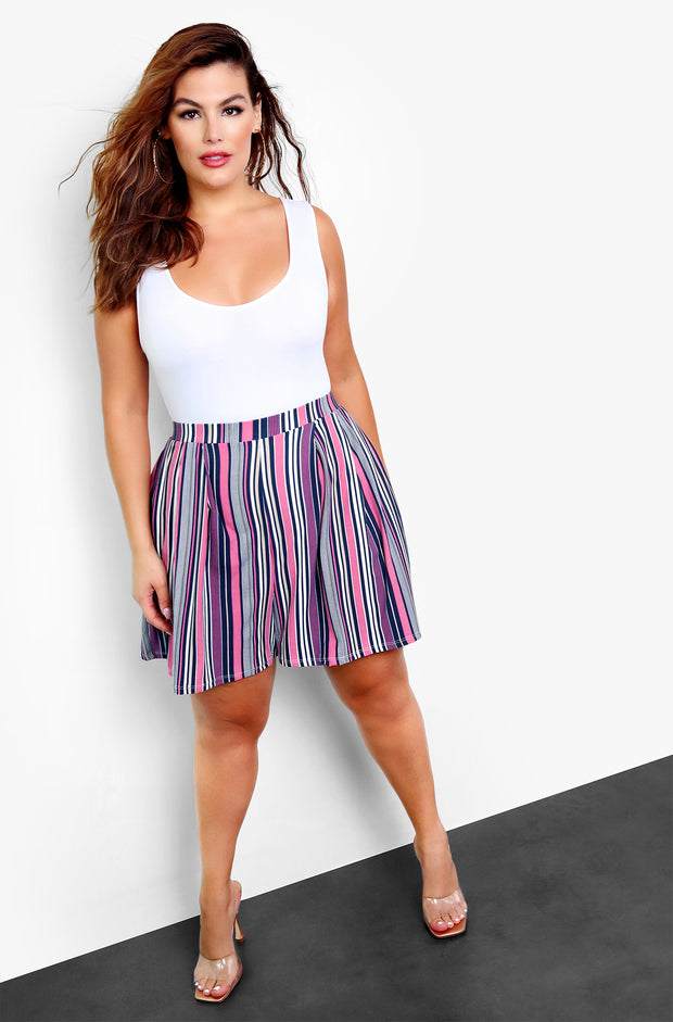 Purple Multi-Colored Striped Short Pants Plus Size