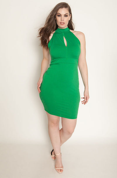 Green Bodycon Keyhole Mini Dress plus sizes