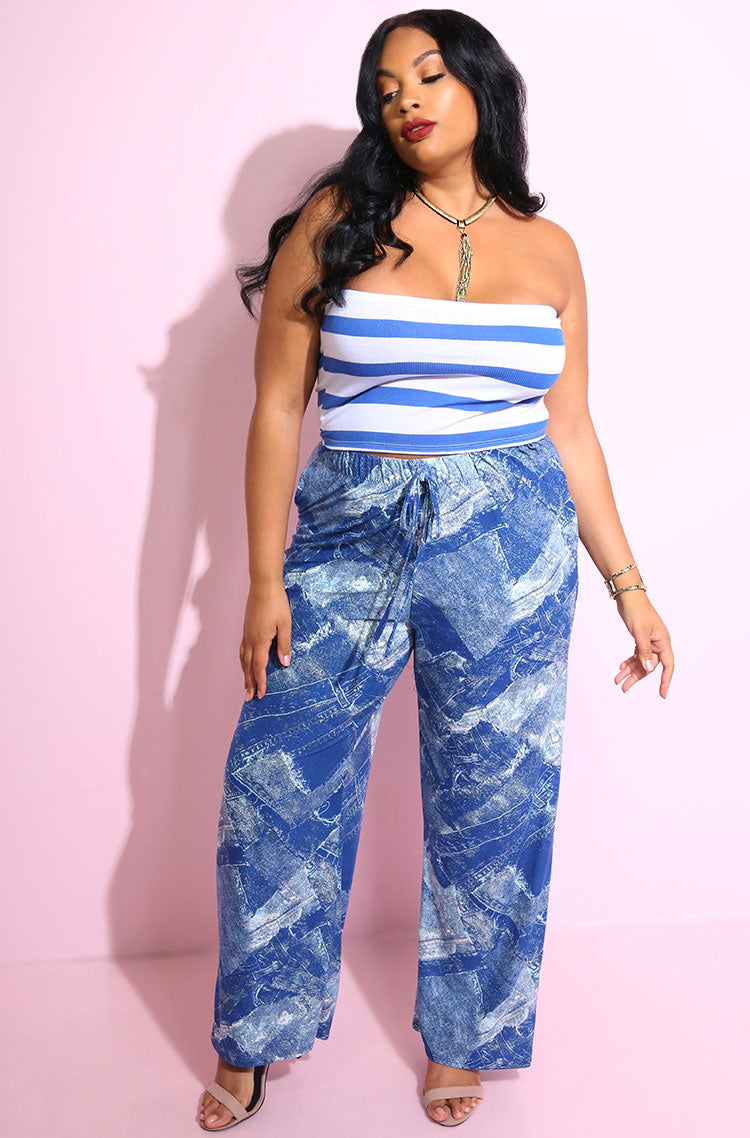 Blue Palazzo Pants With Pockets Plus Sizes