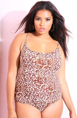 Brown Tank Bodysuit plus sizes