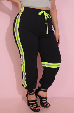 Black Reflective Neon Green Strip Jogger Pants Plus Sizes