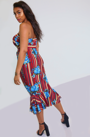 Floral and Stripe Tube Top With Mermaid Bodycon Skirt Plus Sizes