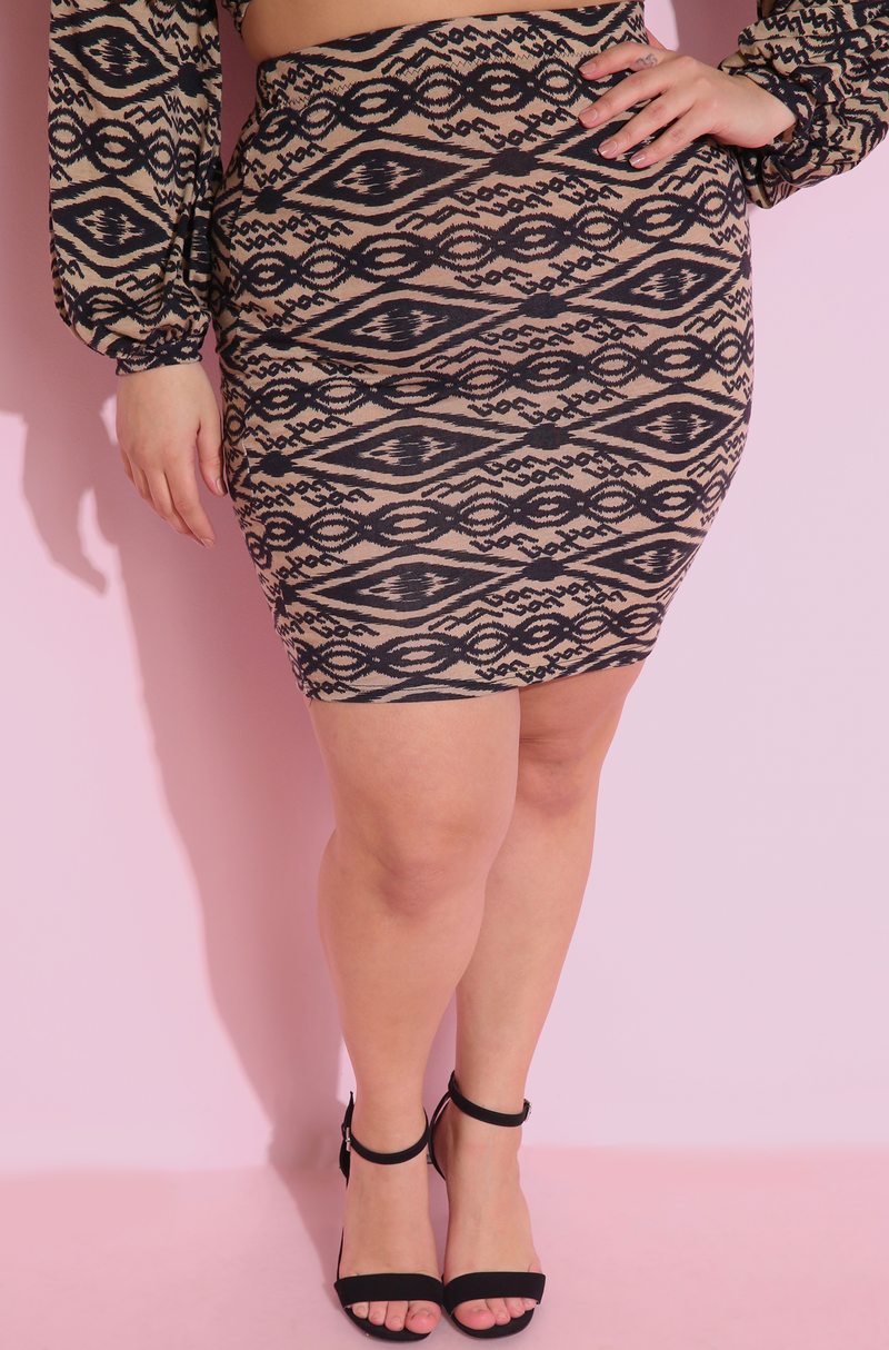 Brown Bodycon Mini Skirt Plus Sizes