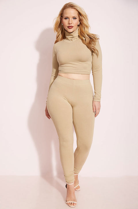 Nude Turtleneck Crop Top Plus Sizes