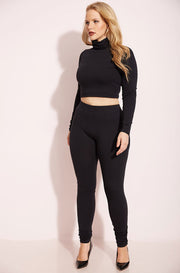 Black Turtleneck Crop Top Plus Sizes
