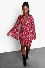 Burgundy Floral Bell Sleeve KeyHole Cut-Out Mini Dress Plus Sizes