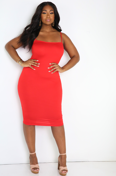 Red Spaghetti Strap Bodycon Midi Dress Plus Sizes