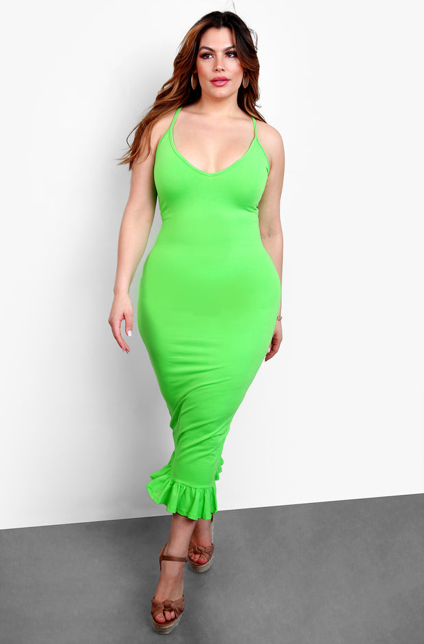 Lime Green V-Neck Bodycon Midi Dress with Ruffled Hem Plus Sizes