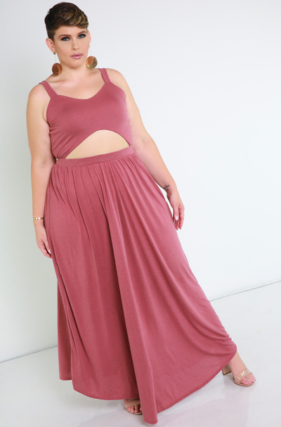 Brick Dust Cut-Out Maxi Dress Plus Sizes