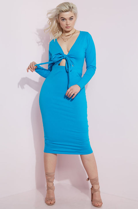 Blue Tied Up Midi Dress plus sizes